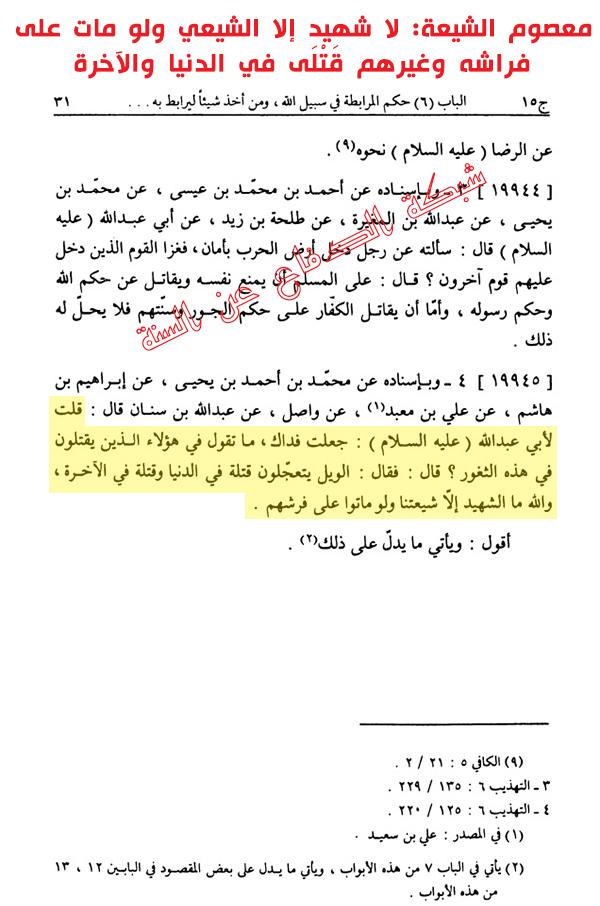 معصوم الشيعة: لا شهيد إلا الشيعي ولو مات على  فراشه وغيرهم قَتْلَى في الدنيا والآخرة